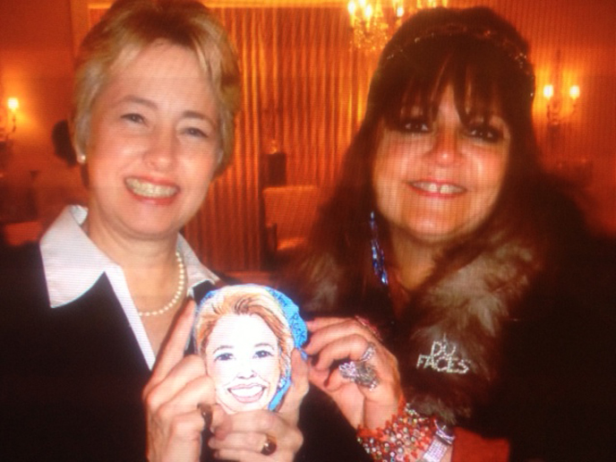 Artist Bonnie Blue presents Houston Mayor Annise Parker with a Rockin' Caricature painted on a hand picked Texas River Rock