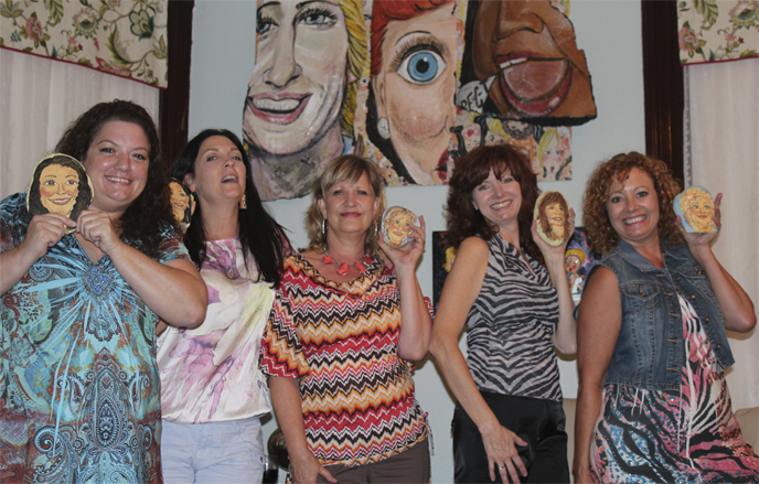 Houston Artist Bonnie Blue loves to paint caricatures on hand picked Texas river rocks. She is available for parties