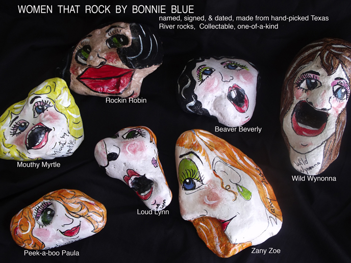 Houston Artist Bonnie Blue paints her Rockin' Caricatures on hand picked Texas River Rocks